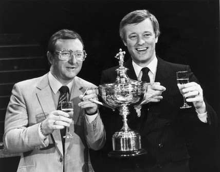 Dennis Taylor and Barry Hearne, May 1985.