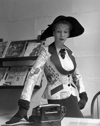 Model wearing 'newspaper jacket', 20 June 1950.