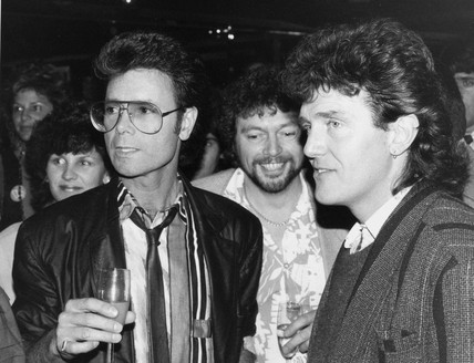 Cliff Richard, Jeremy Beadle and Alvin Stardust, May 1985.