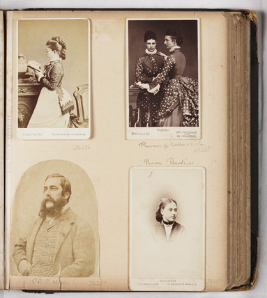 Page from a Victorian photograph album, c 1860s.