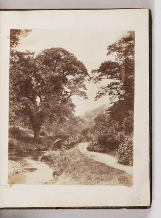 Bridge and stream at Penllergare, South Wales, c 1860s.
