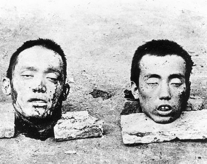 Two heads of Chinese soldiers, September 1937.