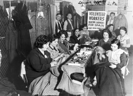 New York clothing workers making garments for Spain, 15 January 1937.