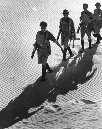 British Infantry marching across the Egyptian desert.