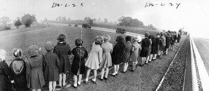 Schoolchildren at the newly opened M1 motorway, 1959.