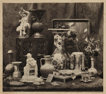 Still life with objects d'art, c. 1866.