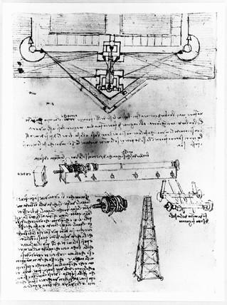 Leonardo da Vinci's designs for a trebuchet, c 1480s.