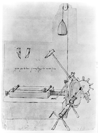 Sketch of a file cutting machine, c. 1480.