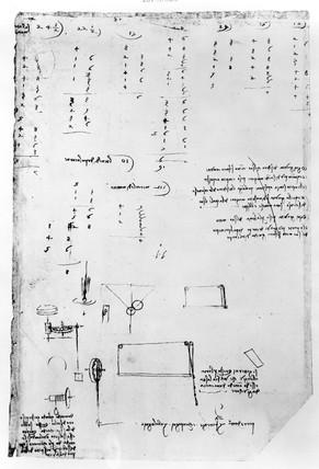 Sketch taken from a notebook by Leonardo Da Vinci .