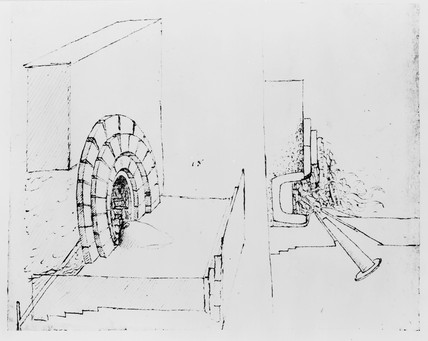 Sketch of a furnace.