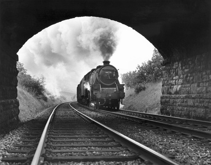 Class 5 4-6-0 No.44775 climbs to Ais Gill summit, 15 September 1967.