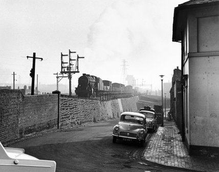 Steam locomotive approaching Stoke-on-Trent Station, November 1964.