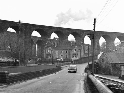 Railway viaduct, Chinley, Derbyshire, December 1967.