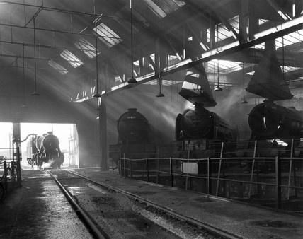 Steam locomotive taking water at York,  7 July 1960.