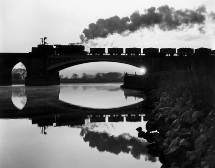 Steam locomotive crossing the River Trent, September 1965.