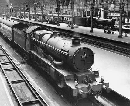 Steam locomotives, Paddington Station, London, June 1958.
