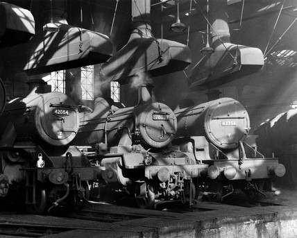 Steam locomotives in the Nottingham Roundhouse, 18 February 1962.