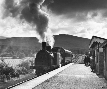 Steam locomotive at Killin Station on the Oban line, September 1961.