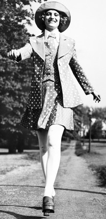 Polka dot minidress, May 1972.