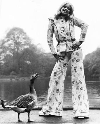 Beatrix Potter trouser suit, May 1972.