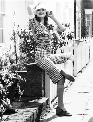 Striped top and checked knee-length shorts, April 1974.