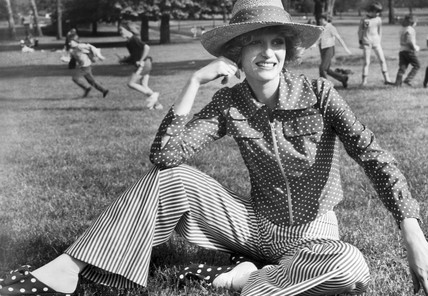 Spotty stripey trouser suit, May 1972.