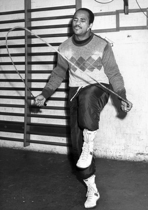 Lloyd Honeyghan, British boxer, February 1987.