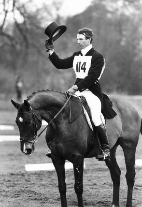 Mark Phillips competing in the Dressage, Cheshire, March 1983.