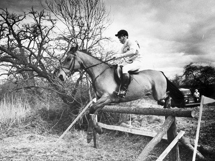 Mark Phillips competing in the cross-country, Cheshire, March 1983.
