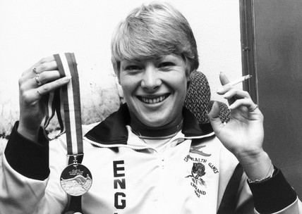 Shirley Strong, British athlete, with cigarette, October 1982.