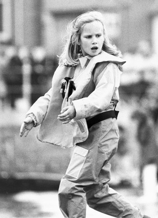 Zara Phillips in yachting gear, October 1988.