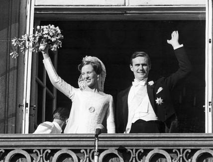 Princess Margrethe of Denmark weds Prince Henrik, 10 June 1967.