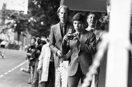 Lord Linley at Harrogate cycle races, Yorkshire, July 1977.