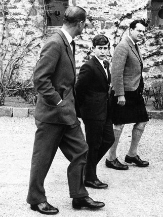Prince Philip and Prince Charles at Gordonstoun, Scotland, May 1962.