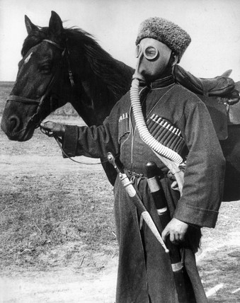 Cossack in a gas mask, November 1938.