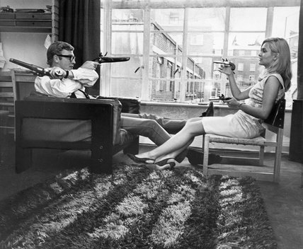 Michael Caine and Alexandra Bastedo, May 1965.