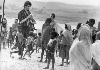 Bob Geldof at Mekele camp, Ethiopia, January 1985.