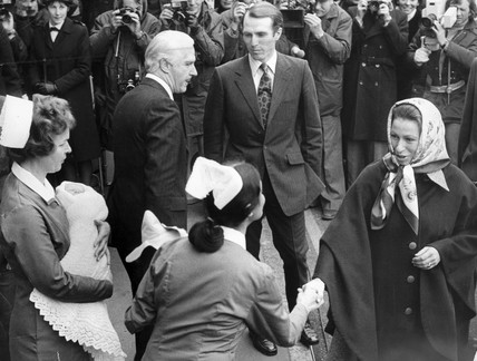 Princess Anne and baby Peter leave hospital, November 1977.