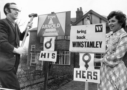 Husband and wife support different political parties, February 1974.