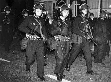 Riot police with plastic bullet guns, Tottenham, London, October 1985.