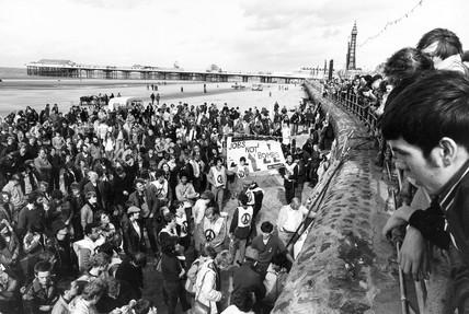 CND 'Jobs not Bombs' demonstration, Blackpool beach, September 1982.