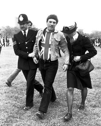 Police arrest at Falklands demonstration, Hyde Park, May 1982.