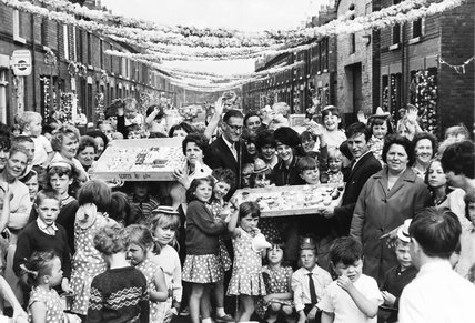 'Fiesta' street celebrations during the World Cup, Liverpool, 1966.