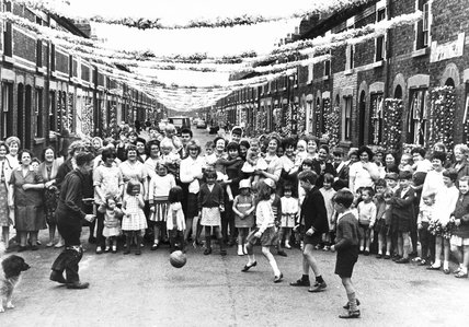 'World Cup crazy' street, Liverpool, July 1966.