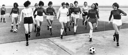 World Cup strips fashion parade, Manchester Airport, April 1966.