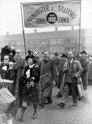 Harold Wilson walking in the May Day Parade, Hulme, Manchester, May 1954.