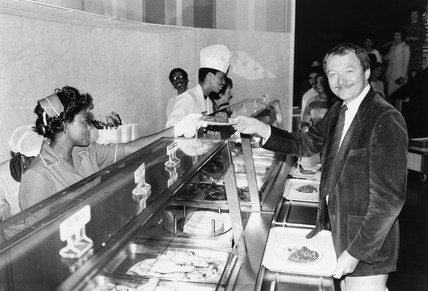 Ken Livingstone with Indian take-away, County Hall, August 1985.