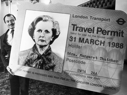 Ken Livingstone with Margaret Thatcher travel card, October 1985.