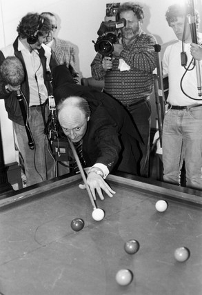 Neil Kinnock playing snooker, 1980s.