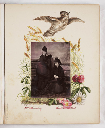 Page from album with a portrait photograph, c 1860.